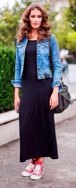 a7552136ff2 Summer spring outfit red converse black maxi dress Jean jacket