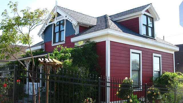 Red House With White And Grey Trim Red House Grey Trim House