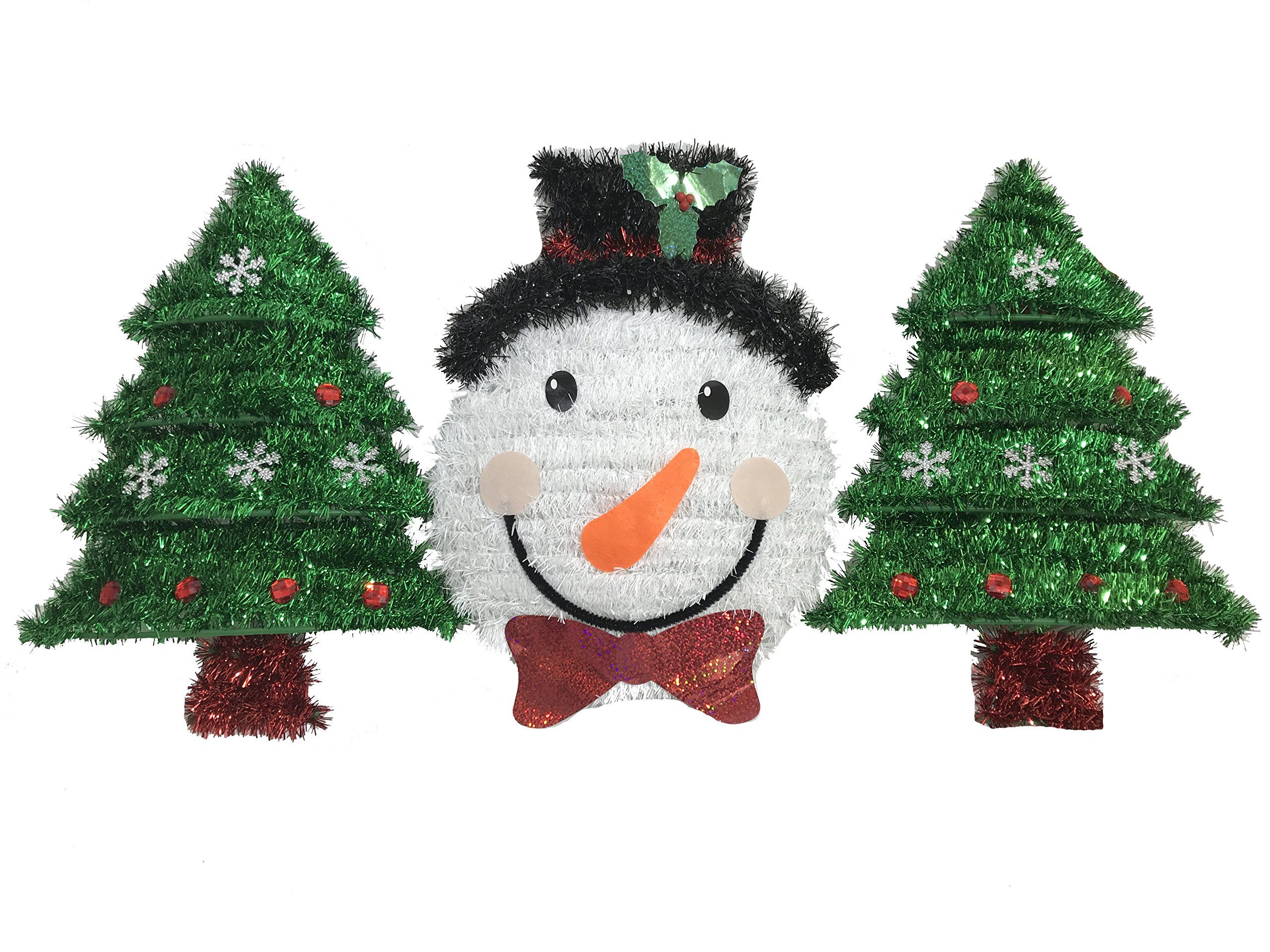 Christmas Garland Tinsel Decoration Set Of 3 Sparkly Snowman And Tree Decor For Holiday Festivities