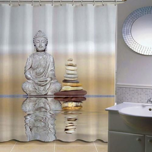 70 Custom 3d Buddha Shower Curtain With 12 Rings Fabric Shower