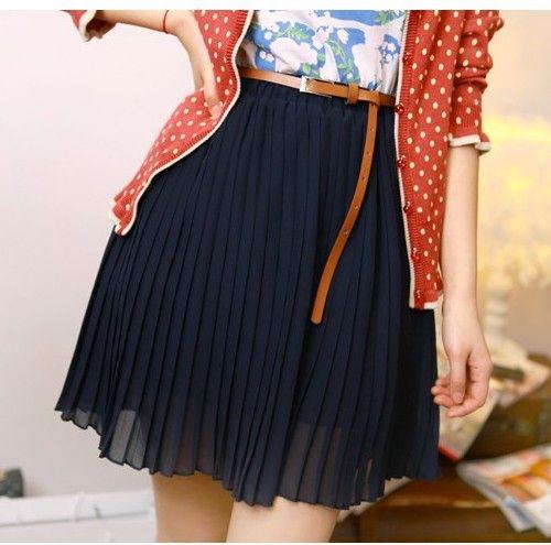 2d23ab097c Falda de estilo modelo chifon de color negro vende bien con cintura ...
