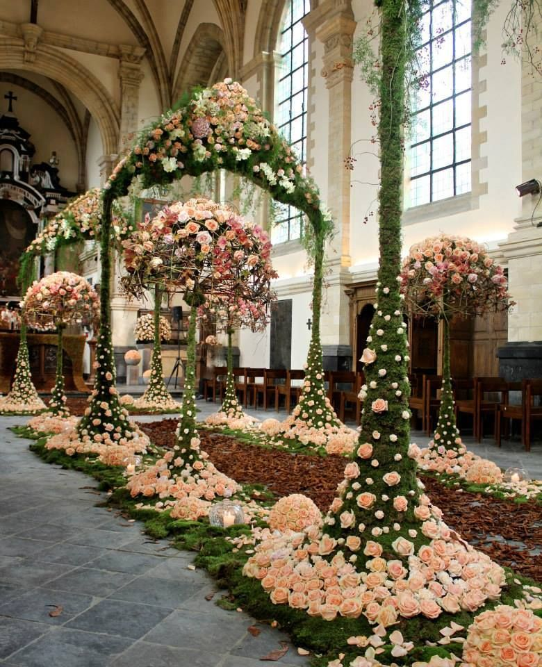 Wedding Flower Arrangements For Church: In The Church Of Landcommanderij Alden Biesen,during
