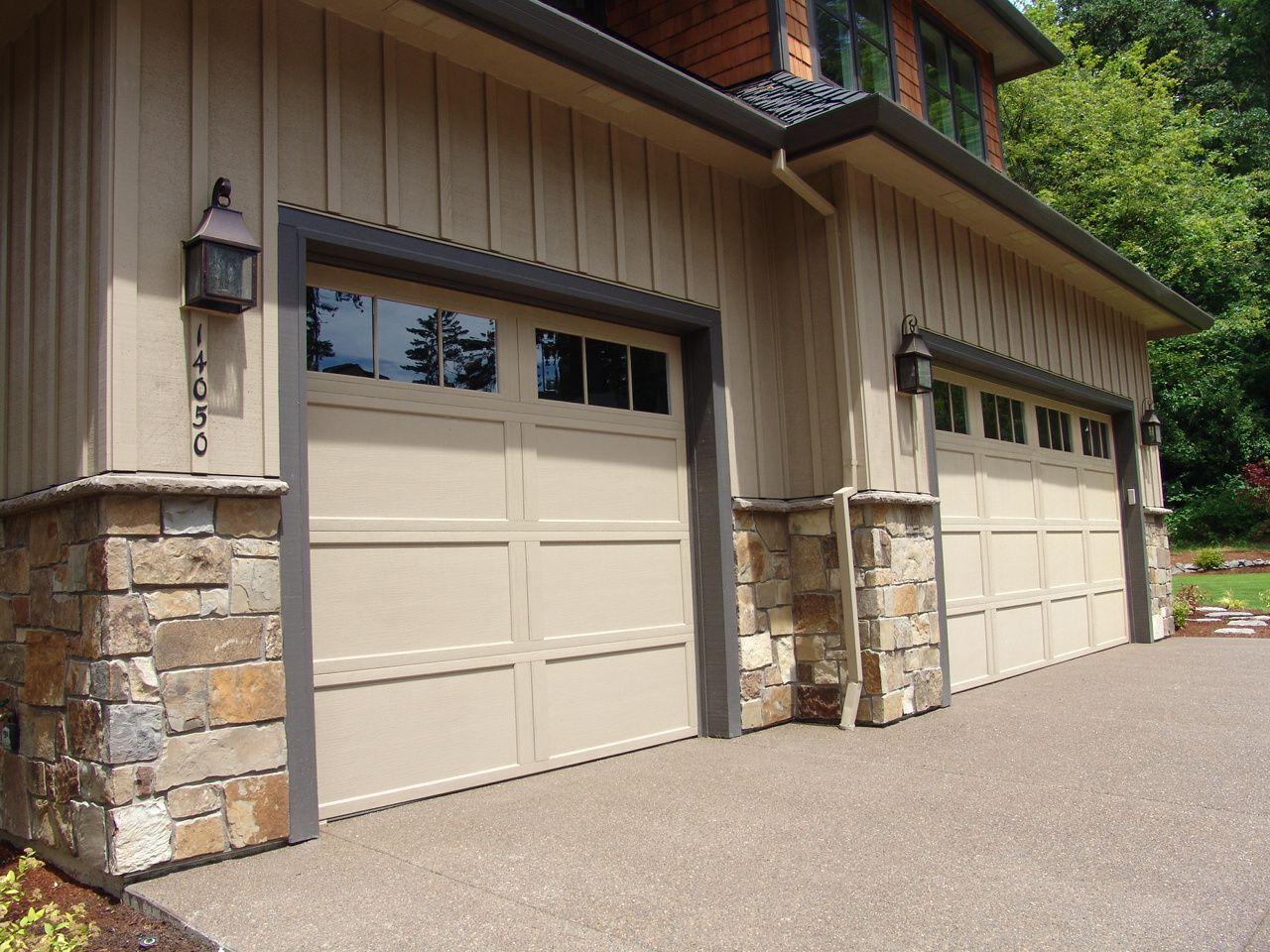 Natural Stone Veneer Wainscot Around Garage New Construction Lake Oswego Www Brownbrosmasonry Net Metal Garage Doors Aluminium Garage Doors Garage Doors