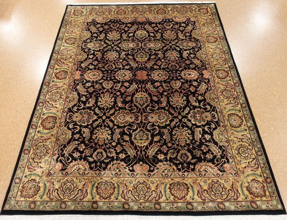 9 X 12 Tabrizz Persian Style Hand Knotted Wool Black New Oriental Rug Carpet Rugs On Carpet Black Runner Rug Rugs