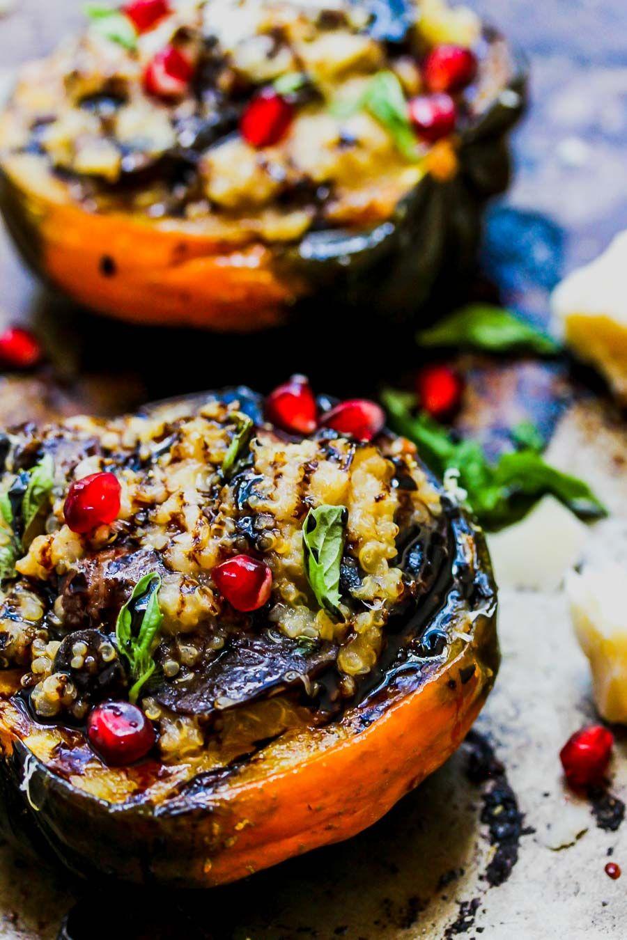 Mushroom And Quinoa Stuffed Acorn Squash Recipe Food Food