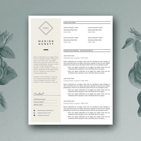 Clean Resume Template by Botanica Paperie on @creativemarket - clean resume template