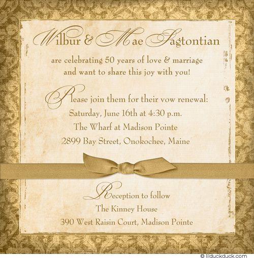 50th Wedding Anniversary Vows Renewal: Sweet 50th Anniversary Photo Invitation