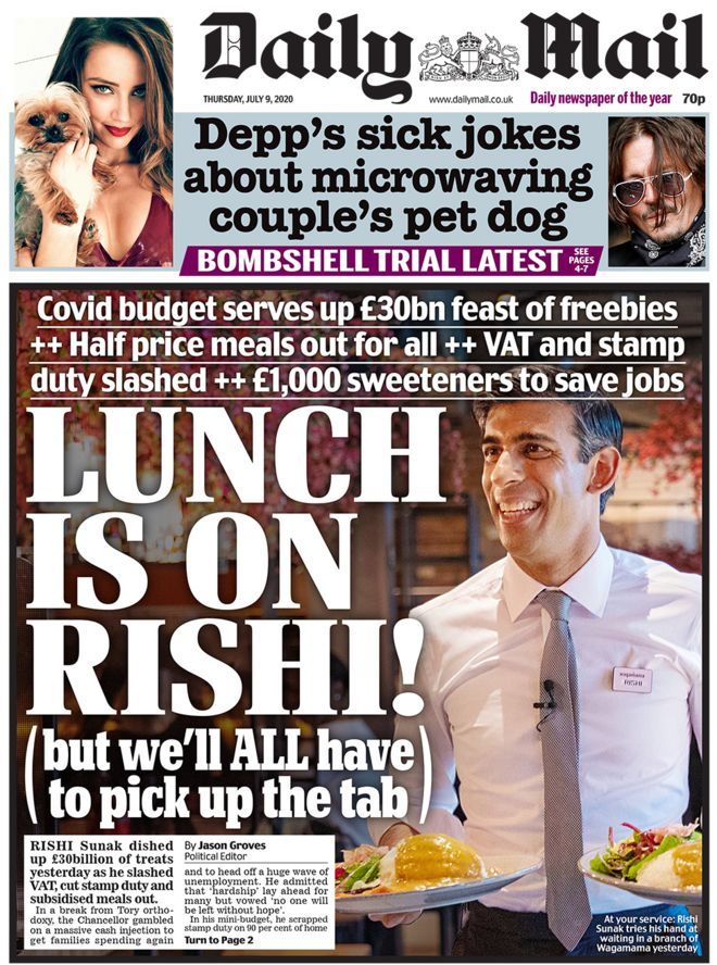 Newspaper headlines 'Meal deal chancellor' and £30bn
