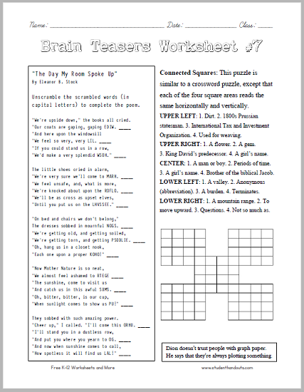 math worksheet : brain teasers worksheet 7  head scratchers kids will love free  : Brain Teasers Worksheet