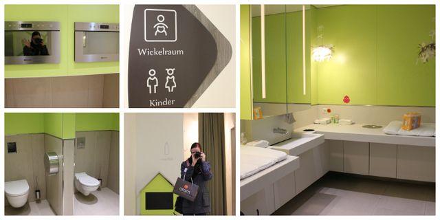 Im Minto: Wickelraum mit Familientoilette, Mikrowellen für Gläschen und wunderschöne Stillecken! Bester Familienwaschraum so far!!  Family Restroom at Minto Mönchengladbach