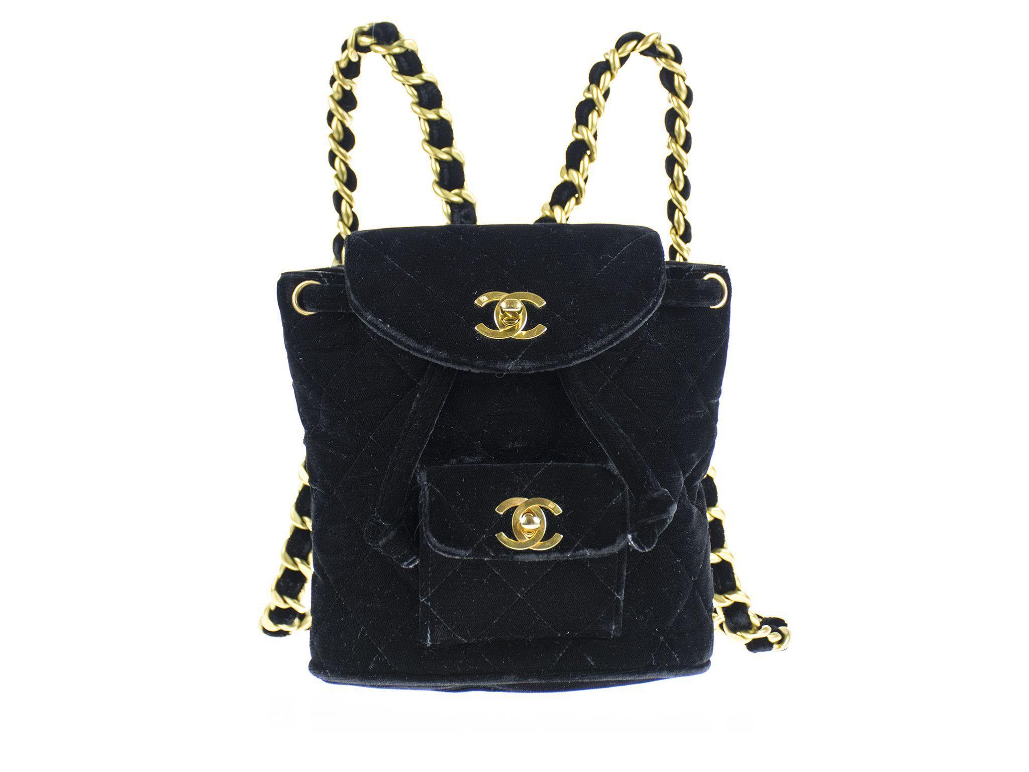 Chanel Vintage Velvet Mini Backpack Velvet Backpack Vintage Chanel Mini Backpack