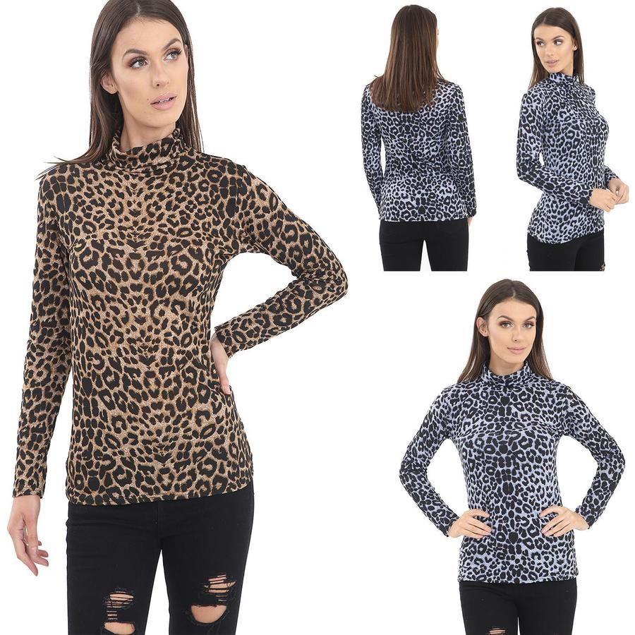 Ladies women leopard polo crew neck top shirt off shoulder