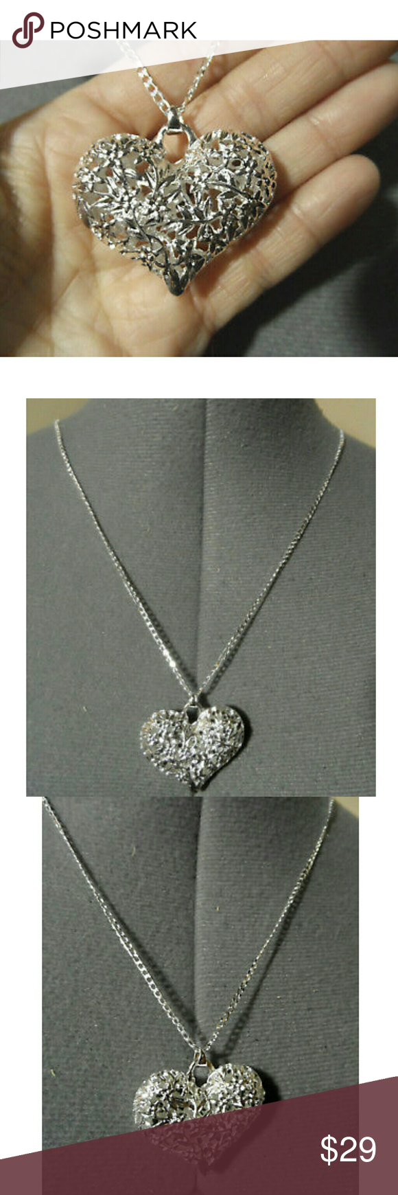 New filigree puffy heart silver necklace u pendant boutique silver