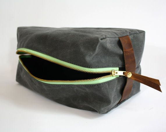 Gray Waxed Canvas Dopp kit (toiletry bag) with Mint Accents and Leather. $55