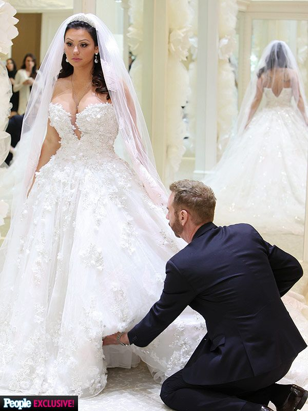 JWoww shares photo of wedding dress with 10-foot train after ...