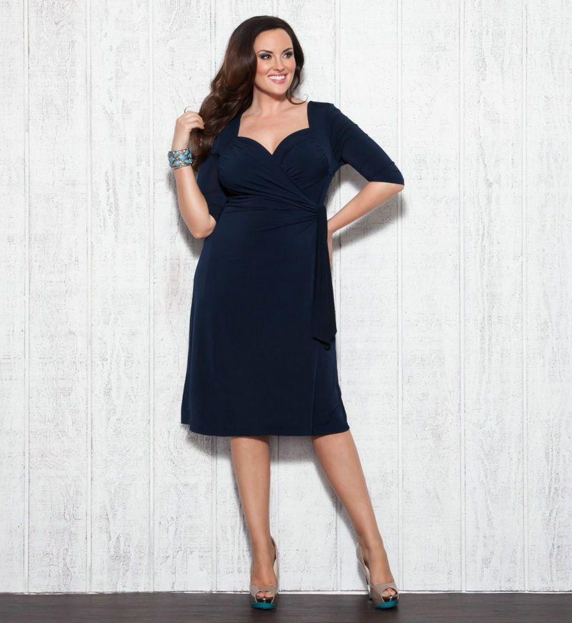 Sweetheart Ruched Knee Length Empire Navy Plus Size Cocktail Dress ...