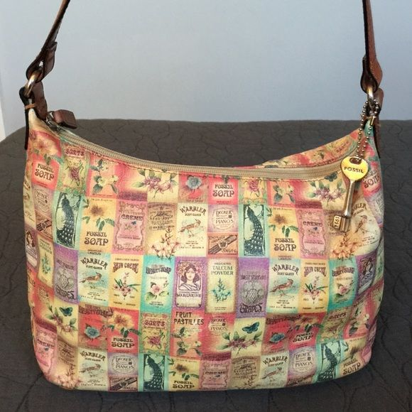Bag Vintage Fossil Canvas And Leather