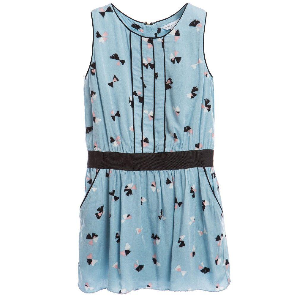 Light Blue Sleeveless Printed Dress, Little Marc Jacobs, Girl