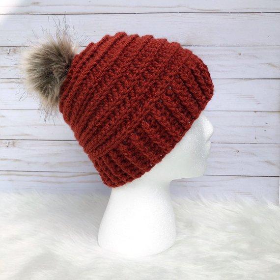f2d277d5e8c Terra Cotta Red Women s Crochet Fall   Winter Beanie Hat with Faux Fur Pom  Pom
