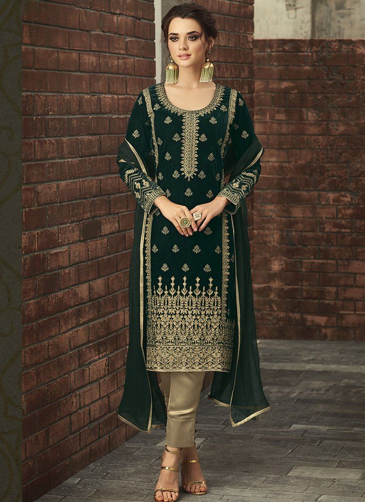 34b69f7665 Buy Designer Salwar Kameez Online In USA, Canada and UK. February 2019.  Dark Green and Gold Embroidered Velvet Straight Suit ...