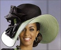 Large Brimmed Beautiful Hat with Rhinestones and Ribbon $356.00