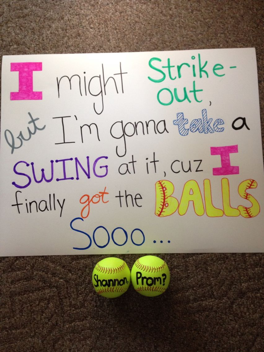 Softball promposal ball quotes pinterest prom proposals and school dances ccuart Gallery