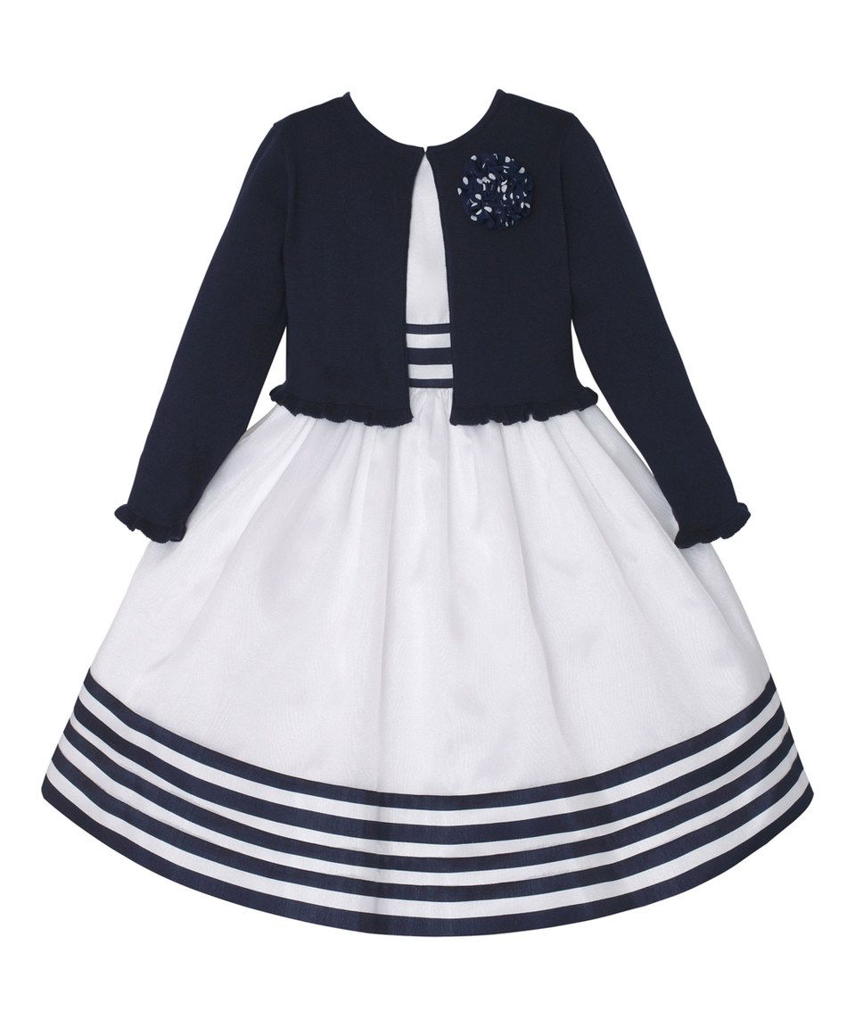 aca43118d Take a look at this Navy Rosette Ruffle Cardigan   White Stripe A ...