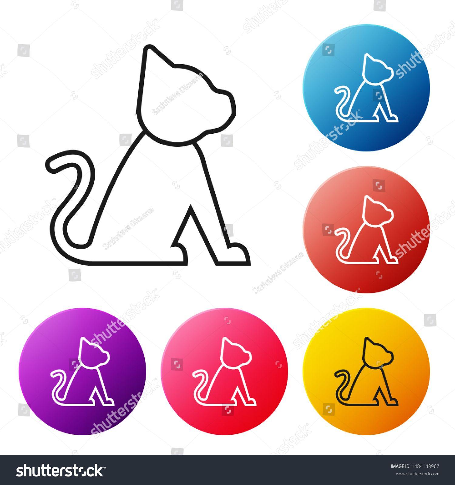 Black line Cat icon isolated on white background. Set