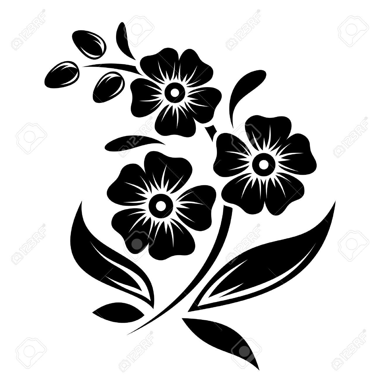 Black Silhouette Of Flowers Vector Illustration Royalty ...