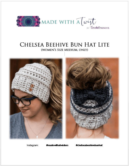 Free Crochet Pattern for the Chelsea Beehive Messy Bun Hat from Made with a  Twist! It even comes with an optional upgrade to make it with stripes and a  bow! 280da4669e5