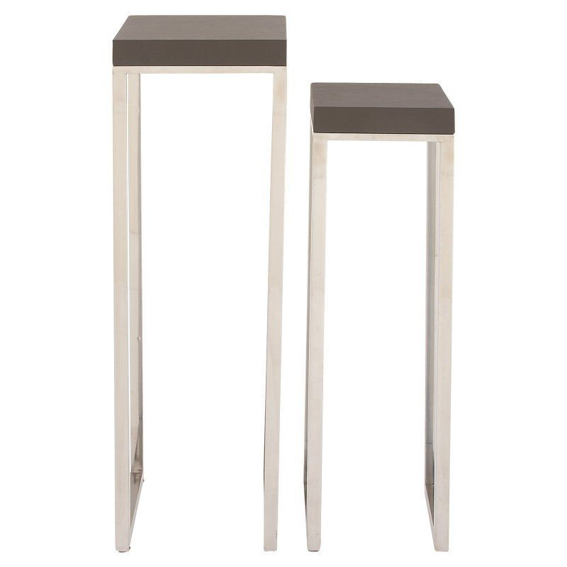Decmode Faux Leather End Table Set Of 2 62768 End Table Sets