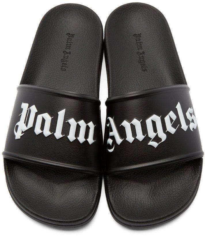 Palm Angels Black Logo Pool Sandals | F O O T W E A R | Palm