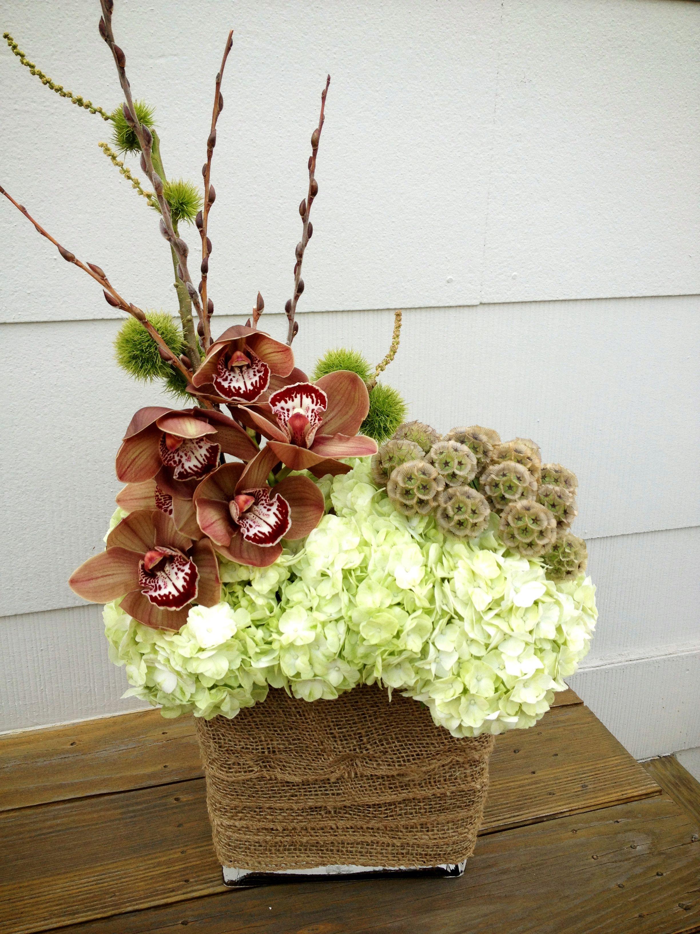Cymbidium Orchid, Chestnut, Hydrangea, Scabiosa Pod Arrangementfrom Httpdoingsocom