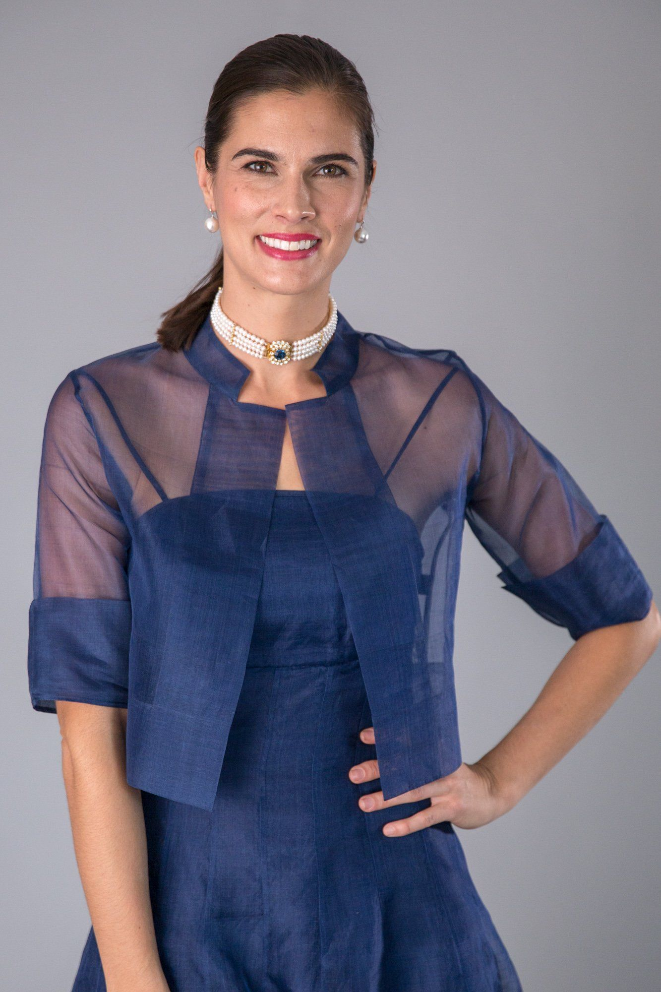 Mother bride dresses summer garden wedding  The Navy Organza Jacket  a classic for the modern and elegant