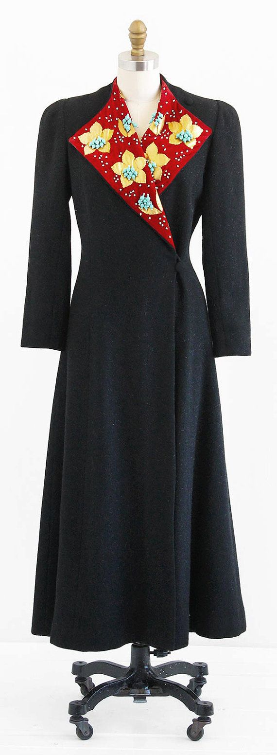 vintage 1940s coat 40s princess coat black and red embellished winter coat manteau mode. Black Bedroom Furniture Sets. Home Design Ideas