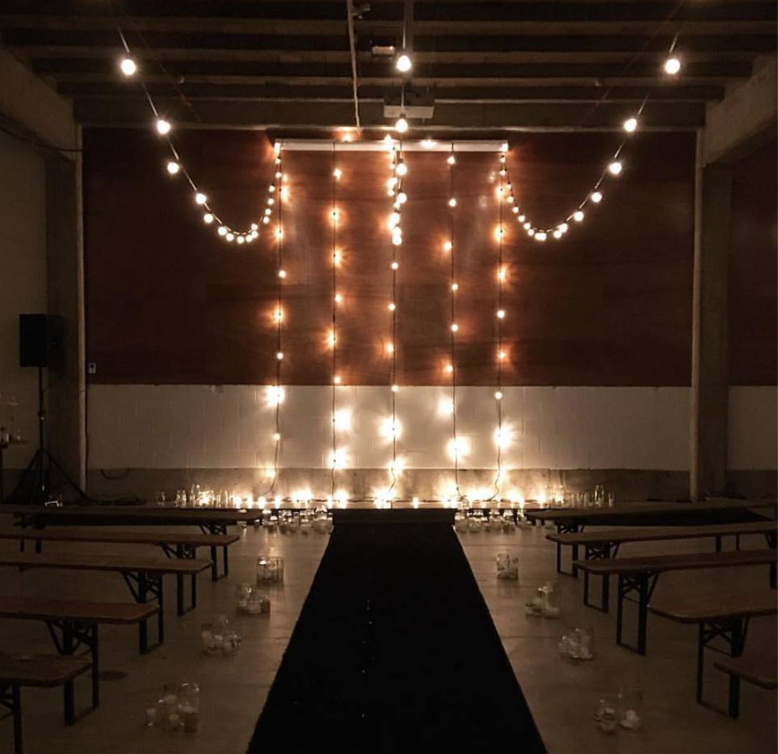 led festoons for the perfect ceremony back drop hire and we can