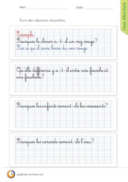 Exemples De Jeux D écriture : exemples, écriture