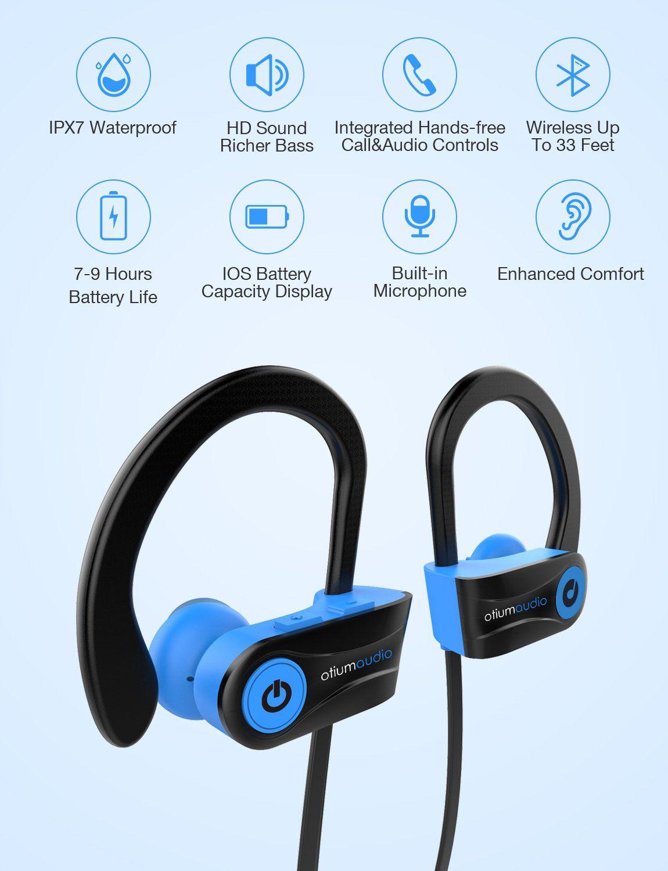 Bluetooth Headphones Otium Audio Wireless Sports Earbuds Waterproof Ipx7 W Mic Hd Stere Wireless Sport Earbuds Noise Cancelling Headset Bluetooth Headphones