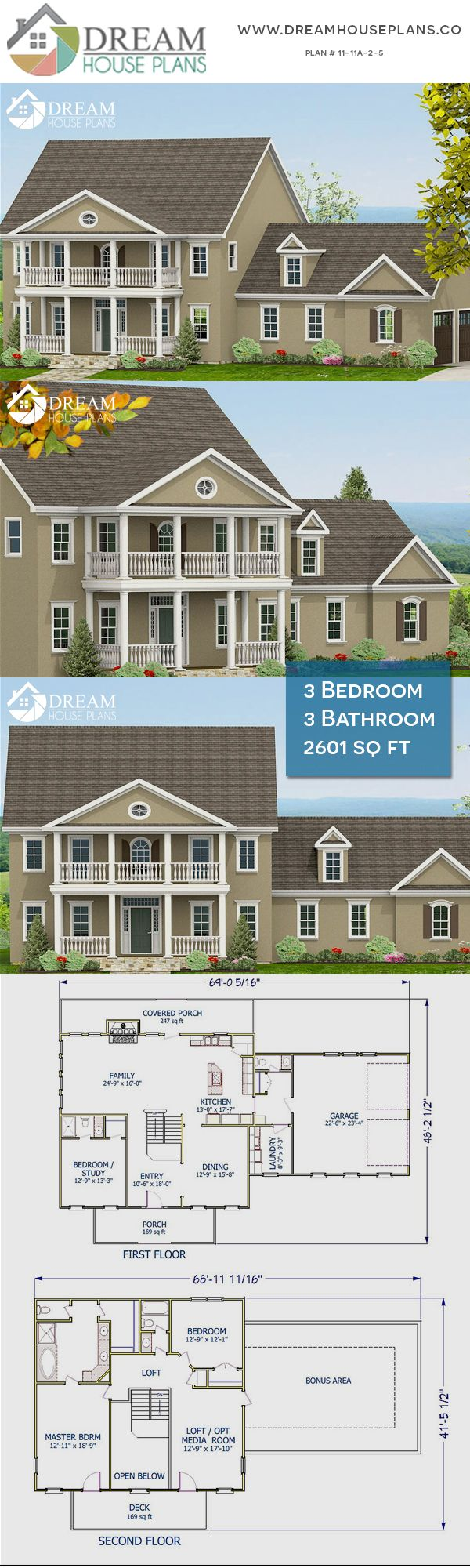 Dream House Plans Affordable Yet Luxury Southern 3 Bedroom 2601 Sq Ft House Plan With Basement We C Dream House Plans New House Plans Southern House Plans