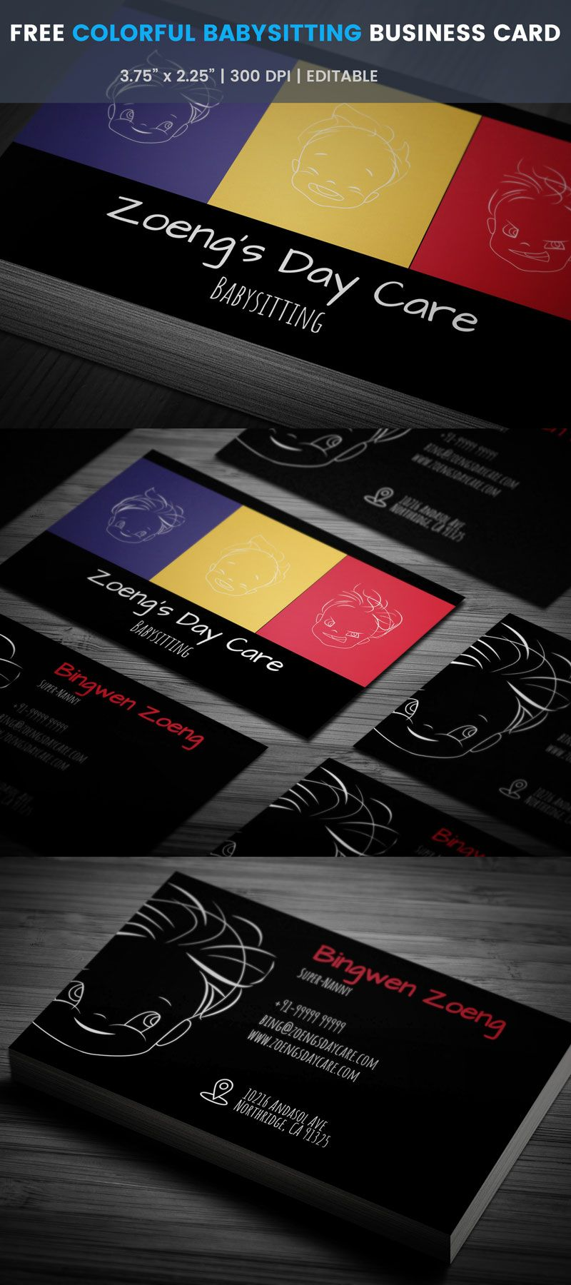 Free free colorful babysitting business card business cards colorful babysitting business card full preview colourmoves