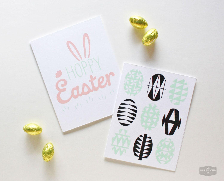 Easter card eggs mint black geometric mid century 5