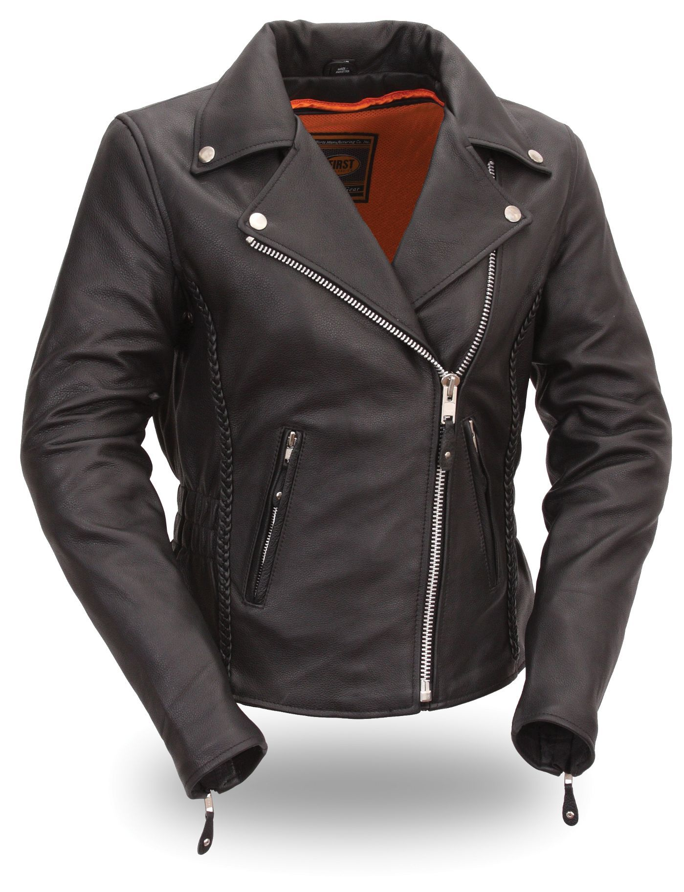 Womens Hourglass Leather Motorcycle Jacket with Silver