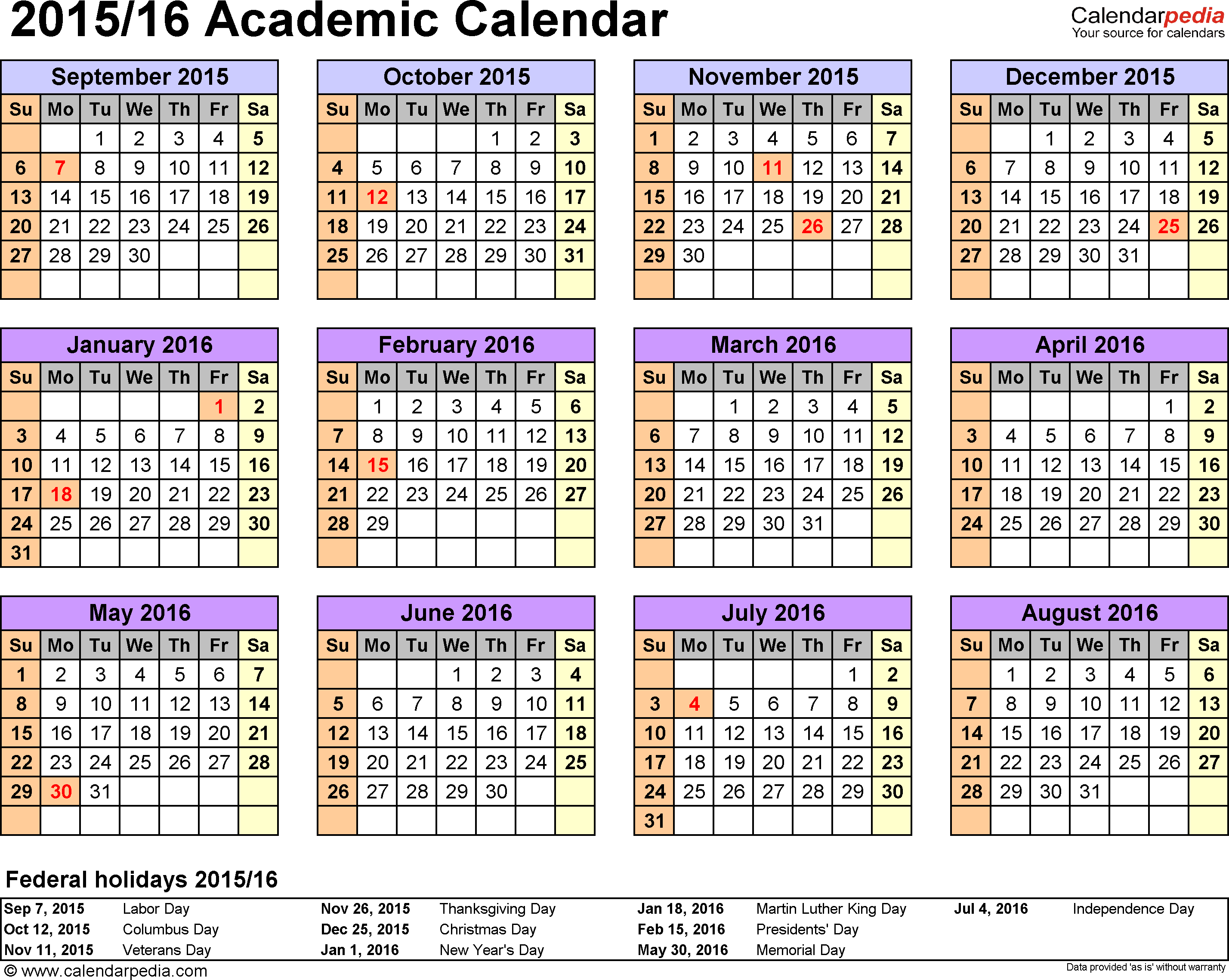 Template  Academic Calendar  For Word Landscape
