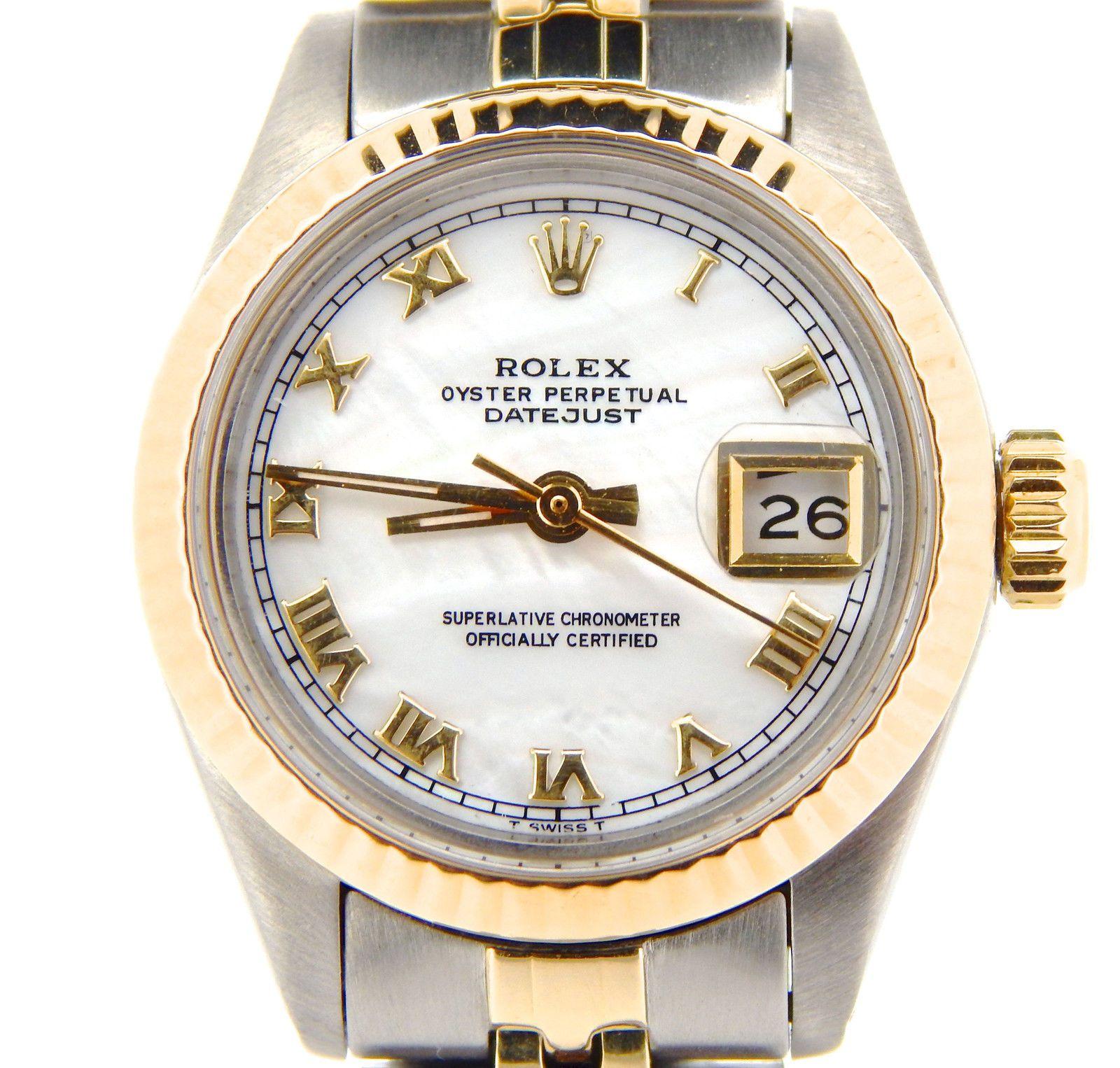 89f6134a541 Rolex Datejust Dama 2 Tone 14K Oro Amarillo Reloj De Acero Blanco Madre de  Perla Cuadrante Romano 6917