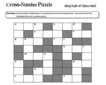 Order Of Operations Cross Number Puzzle With Images Order Of