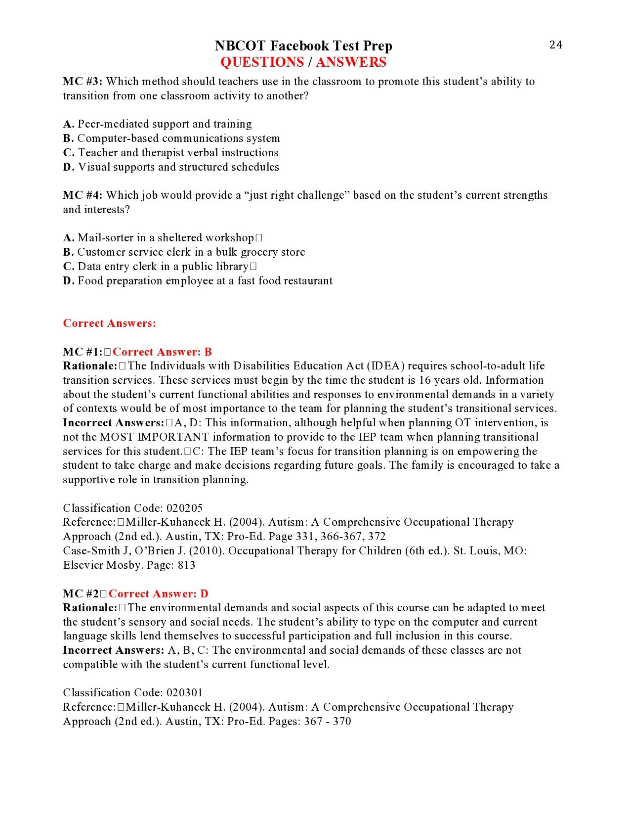 Nbcot Facebook Test Prep Questions Answers Page 24