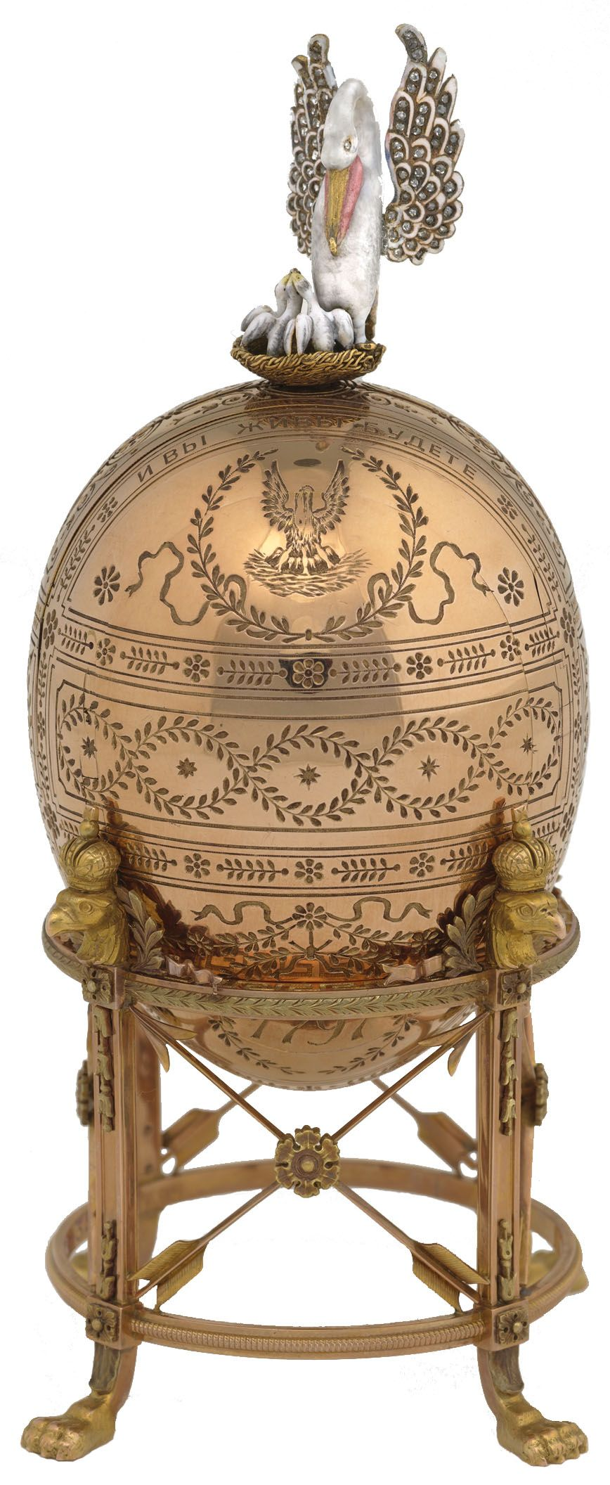 (1) FABERGE eggs__Imperial PELICAN Presented to Empress Maria in 1898, the Pelican Egg uses a folding screen to reveal eight miniatures relating to the Empress's charity.
