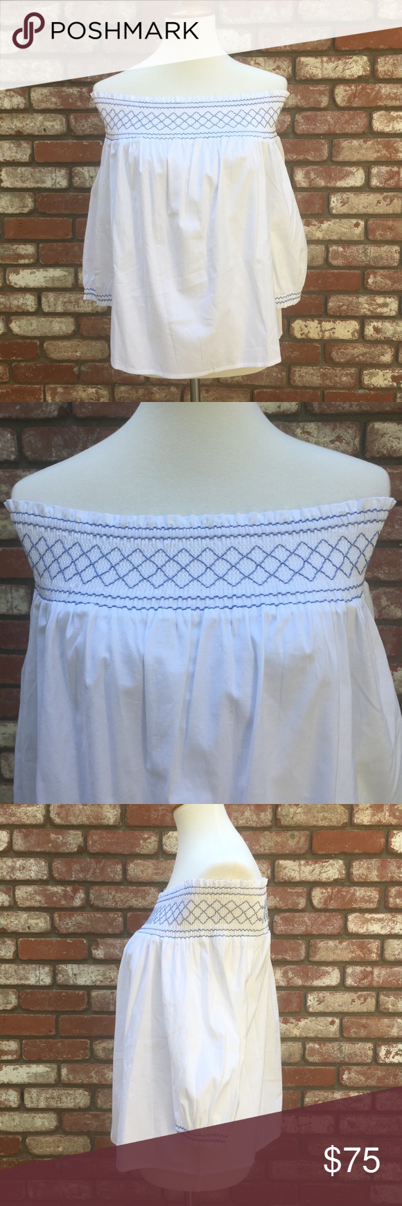8ac4427afcc VINEYARD VINES WHITE SMOCKED OFF THE SHOULDER TOP NWT Vineyard Vines  Smocked off the shoulder top