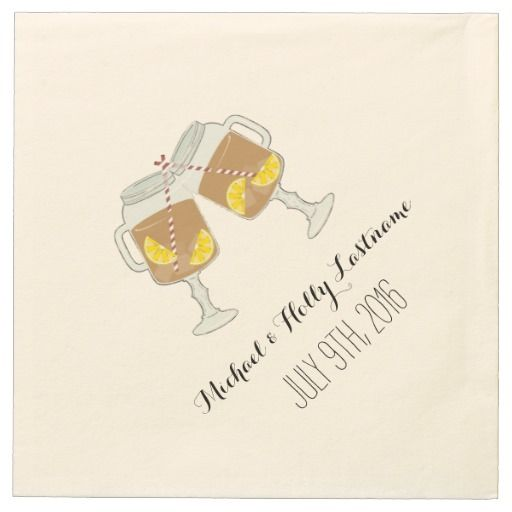Sweet Tea Mason Jars Wedding Napkins Paper Napkins by Jill's Paperie