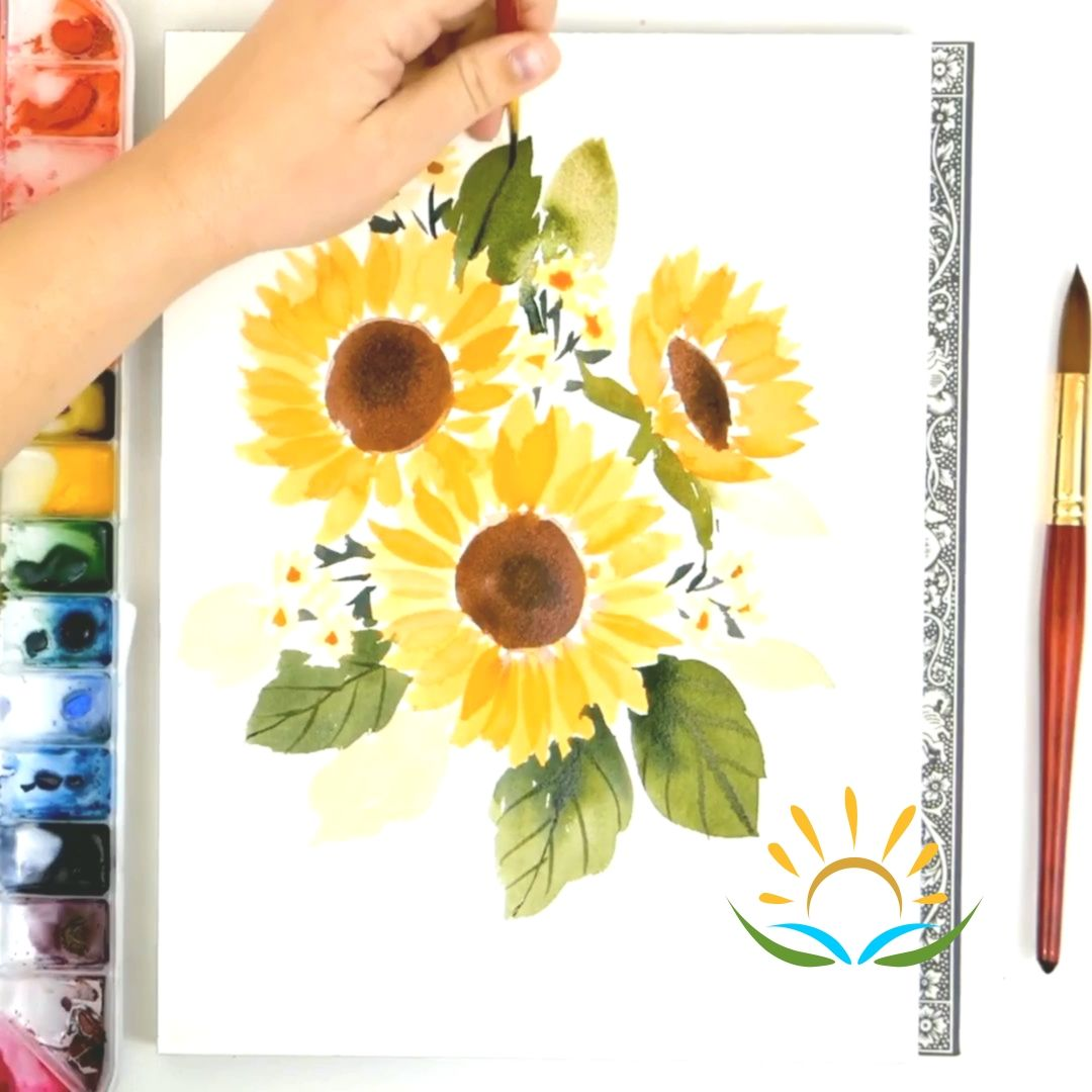 How To Paint A Loose Sunflower Bouquet In 2020 Aquarell Blumen